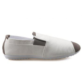 Casual Color Block and Elastic Design Men's Loafers - WHITE 41