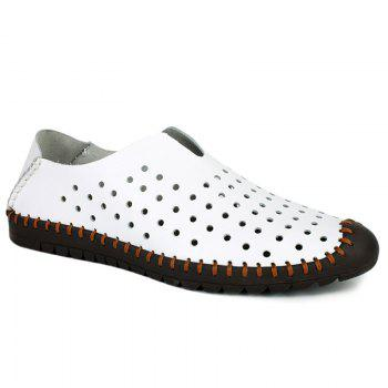 Trendy Stitching and Hollow Out Design Men's Casual Shoes - WHITE WHITE