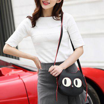 Cute Cat Shape and Black Design Women's Crossbody Bag - BLACK