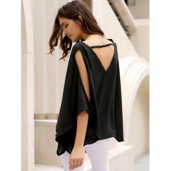 Alluring Women's V-Neck Solid Color Plus Size Hollow Out Blouse - BLACK 2XL