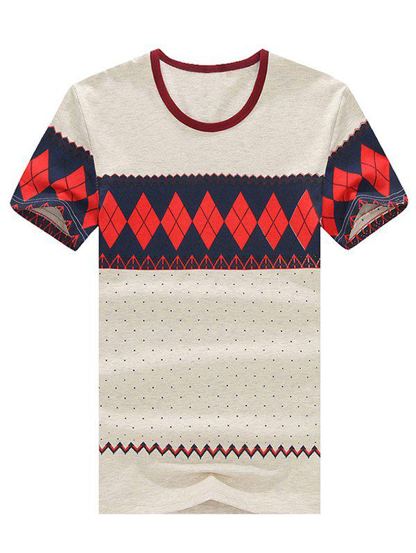 Slim Fit Men's Round Neck Geometric Pattern Short Sleeve T-Shirt
