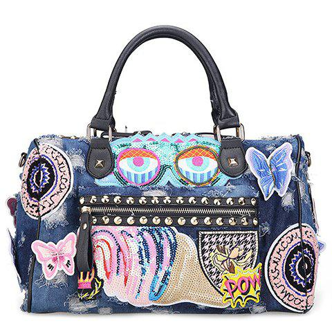 Embroidery Denim Tote Bag - BLUE