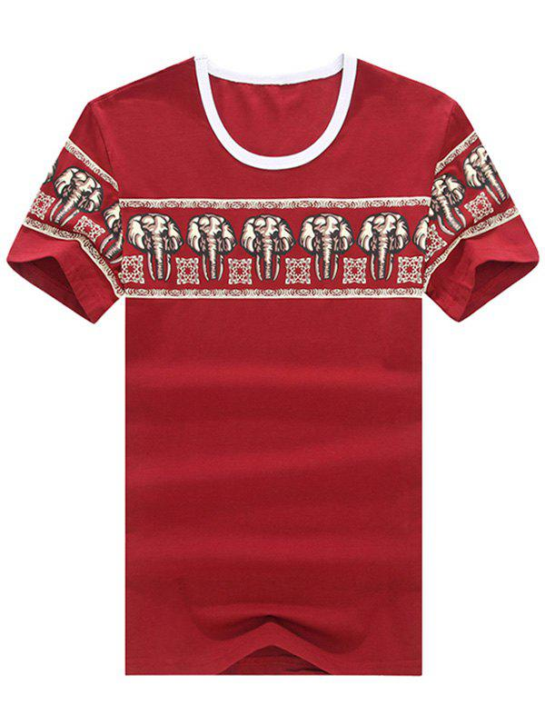 Slim Fit Round Neck Printed Short Sleeve Men's T-Shirt - RED XL