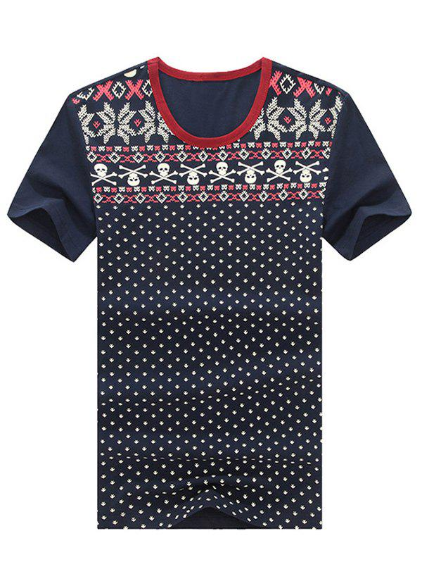 Geometric and Skulls Print Round Neck Plus Size Short Sleeve Men's T-Shirt