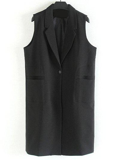 Notched Collar Longline Plus Size Waistcoat - BLACK XL