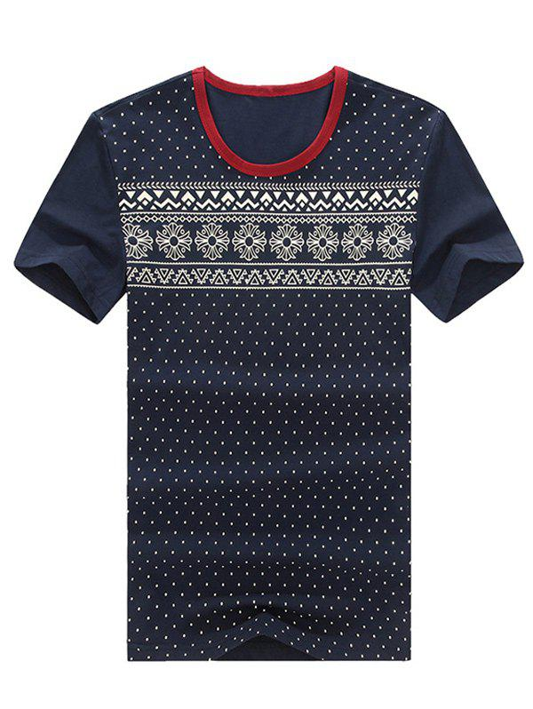 Geometric and Polka Dot Print Round Neck Plus Size Short Sleeve Men's T-Shirt - CADETBLUE XL