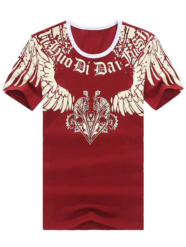 Vogue Round Neck Printed Short Sleeve T-Shirt For Men - RED 2XL