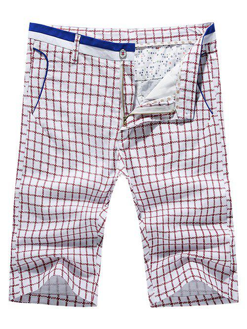 Men's Casual Pokets Plaid Zip Fly Shorts - RED 33