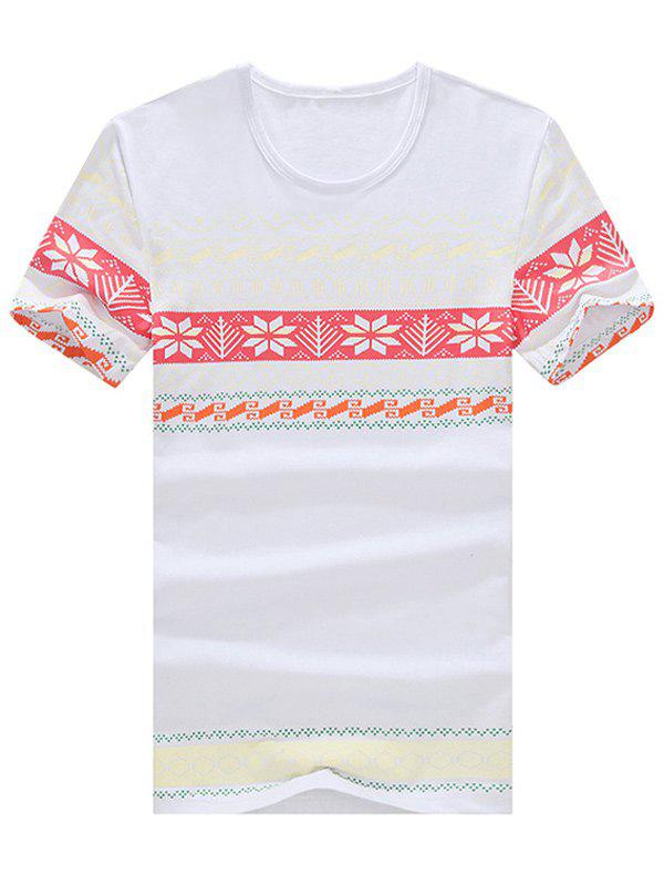 Geometric and Ethnic Print Round Neck Plus Size Short Sleeve Men's T-Shirt - WHITE M