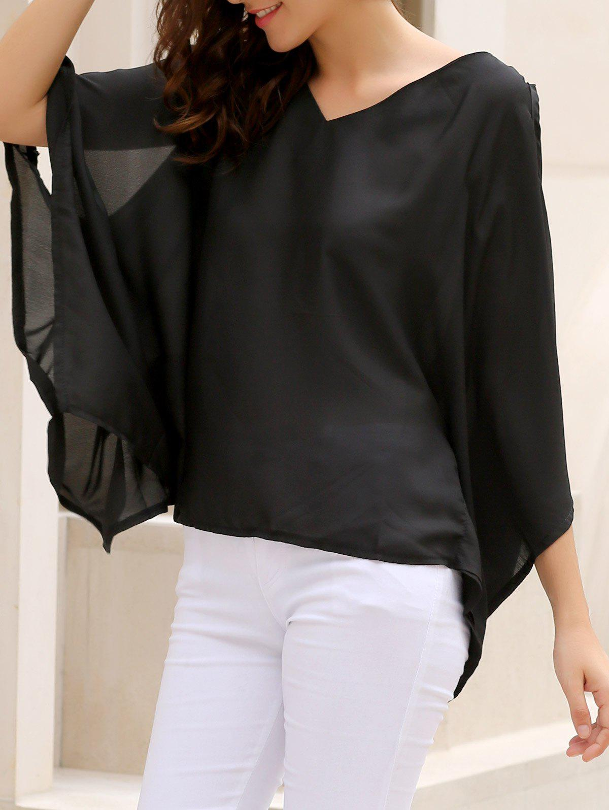 Alluring Women's V-Neck Solid Color Plus Size Hollow Out Blouse stylish plus size solid color v neck blouse