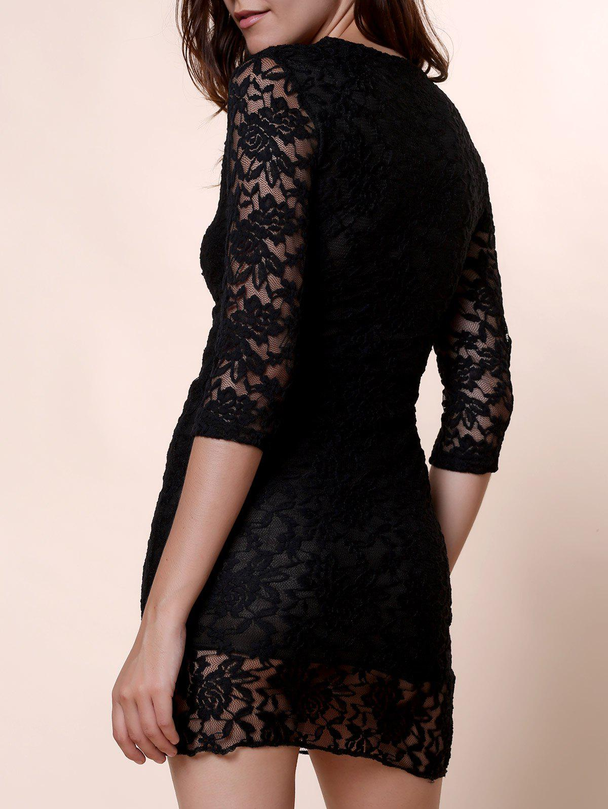 Sexy Plunging Neck 3/4 Sleeve Solid Color See-Through Women's Lace Dress - BLACK ONE SIZE(FIT SIZE XS TO M)