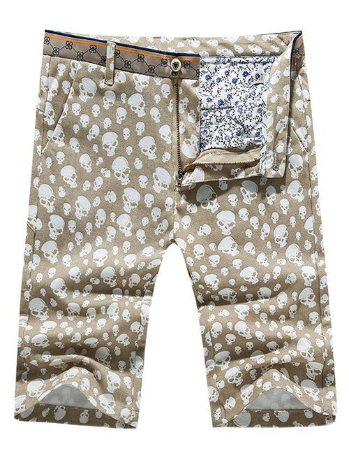 Men's Casual Pokets Skull Printed Zip Fly Shorts - BEIGE 31