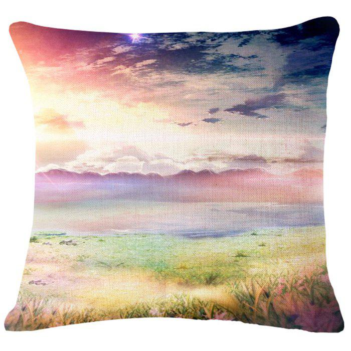 Chic Sea Oil Painting Pattern Square Shape Flax Pillowcase (Without Pillow Inner)