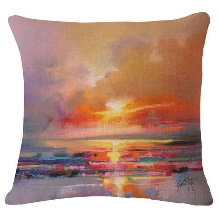 Chic Sunset Oil Painting Pattern Square Shape Pillowcase (Without Pillow Inner) - COLORMIX
