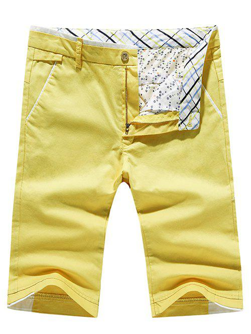 Mens Fashion Solid Color Pokets Zip Fly ShortsMen<br><br><br>Size: 32<br>Color: YELLOW