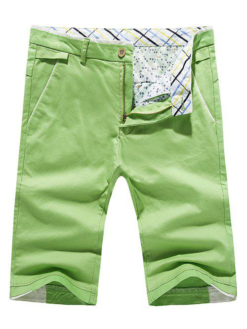 Men's Fashion Solid Color Pokets Zip Fly Shorts - LIGHT GREEN 34
