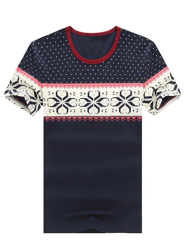 Fashionable Round Neck Short Sleeve Printed T-Shirt For Men - CADETBLUE XL