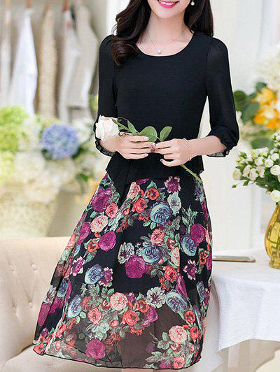 Dresslily USA Trendy Women's Scoop Neck 3/4 Sleeve Floral Print Dress