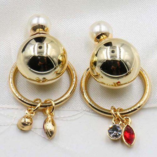 Pair of Faux Pearl Crystal Circle Earrings - GOLDEN