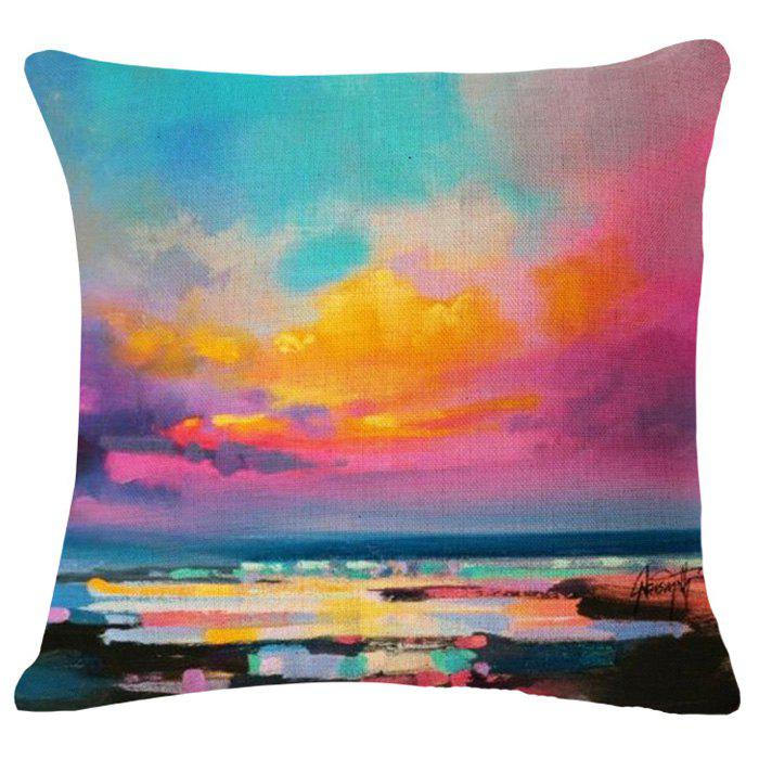 Chic Scenic Beauty Oil Painting Pattern Square Shape Flax Pillowcase (Without Pillow Inner) - COLORMIX