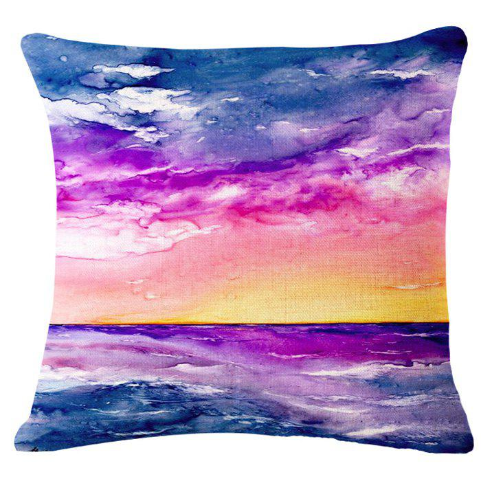 Chic Sunrise Landscape Oil Painting Pattern Square Shape Pillowcase (Without Pillow Inner) - COLORMIX