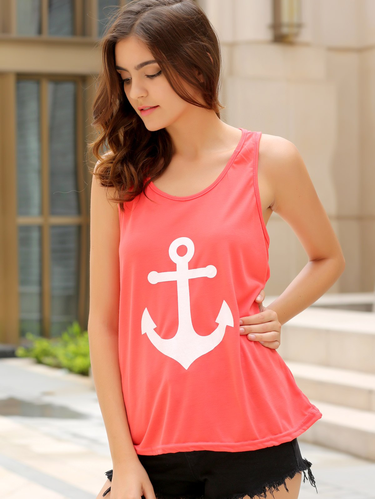 Stylish Scoop Collar Sleeveless Bowknot Design Anchor Print Women's Tank Top - PINK L