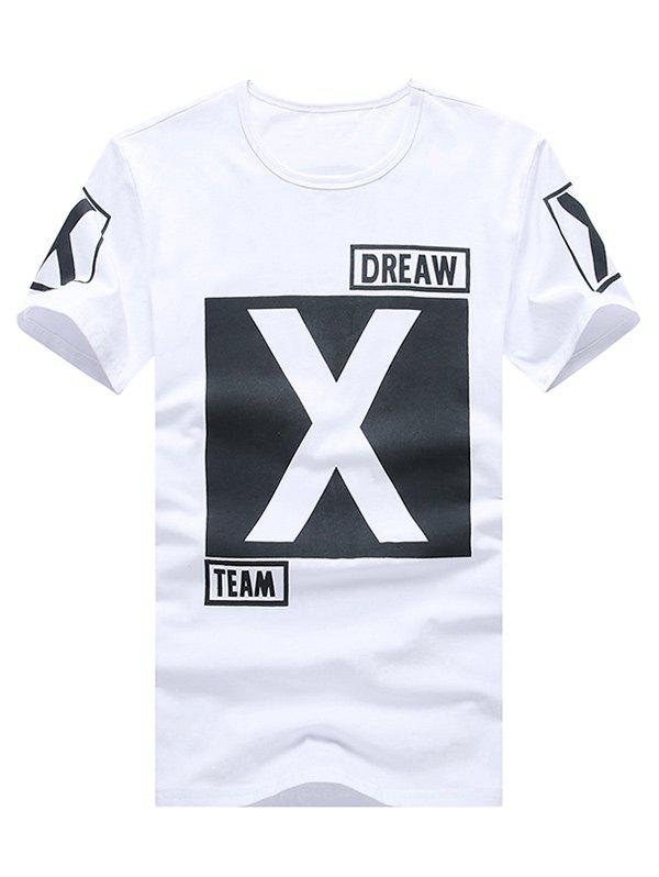 Geometric and Letters Print Round Neck Plus Size Short Sleeve Men's T-Shirt - WHITE XL