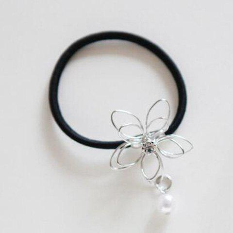Chic Faux Pearl Pendant Hollow Out Flower Women's Elastic Hairband - SILVER
