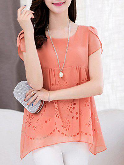 Trendy Women's Scoop Neck Short Sleeve Pure Color High Low Blouse - ORANGEPINK M
