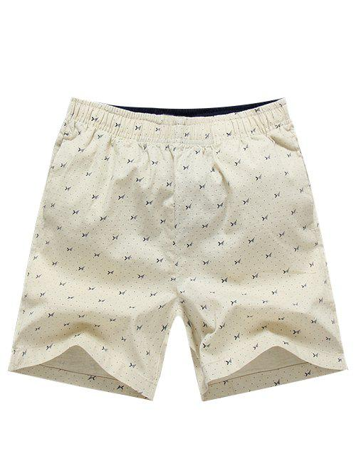 Casual Elastic Waist Printing Men's Shorts - BEIGE 3XL