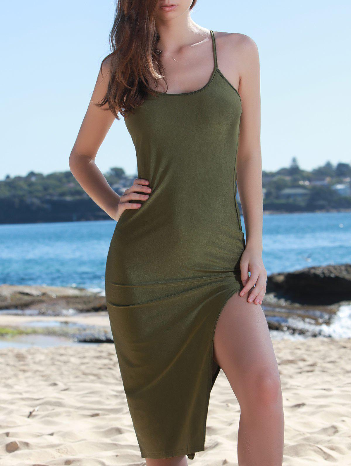Chic Solid Color Spaghetti Strap Back Criss-Cross Side Slit Bodycon Dress For WomenWomen<br><br><br>Size: S<br>Color: ARMY GREEN