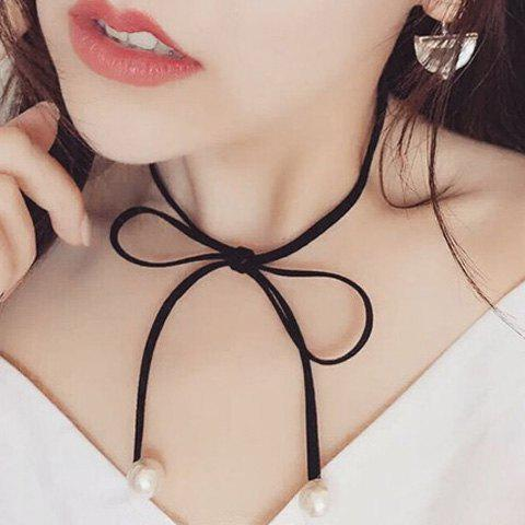 Chic Faux Pearl Big Knotted Bowknot Women's Black Chokers Necklace - BLACK