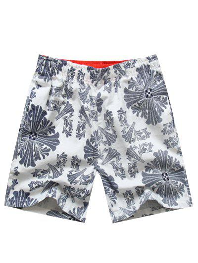 Casual Elastic Waist Printed Men's Shorts - WHITE XL