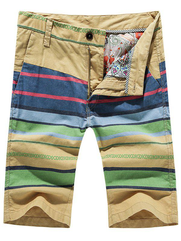 Fashion Zip Fly Striped Printed Men's Shorts - 32 YELLOW