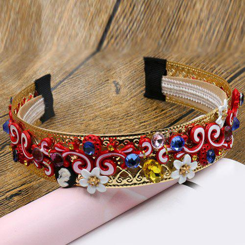 Gorgeous Faux Gem Cirrus Flower Hairband For Women - COLORMIX