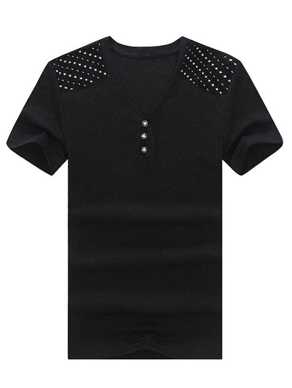 Trendy V-Neck Stars Printed Short Sleeve T-Shirt For Men