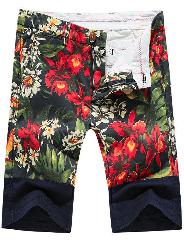 Fashion Zip Fly Plant Printed Men's Shorts - RED 36