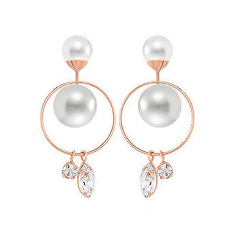 Pair of Chic Rhinestone Hollow Circle Ring Faux Pearl Women's Earrings - ROSE GOLD