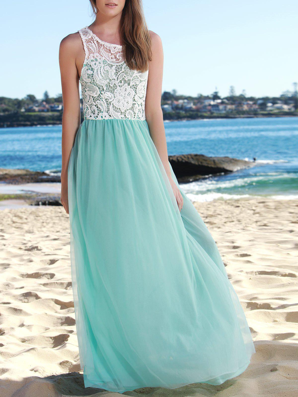 Elegant Hollow Out Lace Spliced Sleeveless Layered Gauze Maxi Prom Dress For Women - LAKE BLUE S