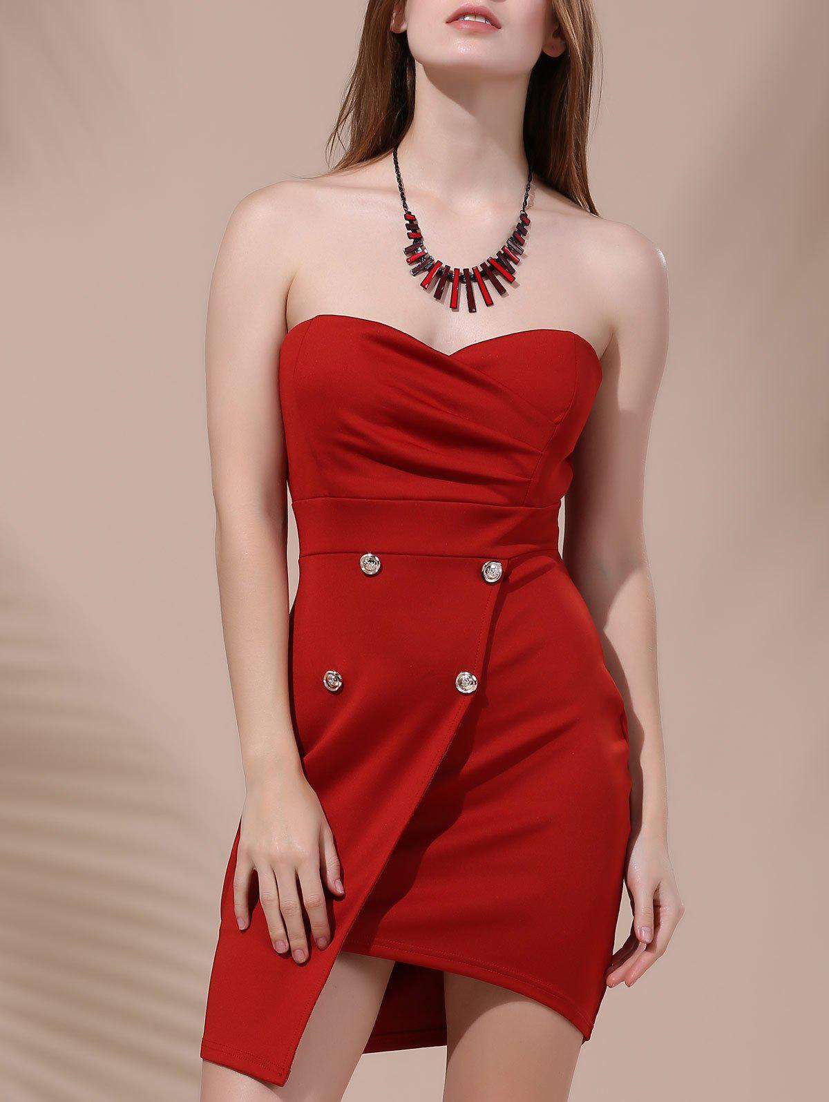 Chic Strapless Pure Color Asymmetrical Dress For Women - DEEP RED S