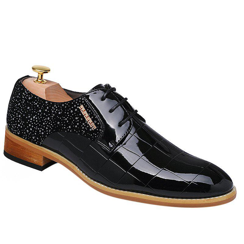 Fashionable Splicing and Black Color Design Men's Formal Shoes - BLACK 38