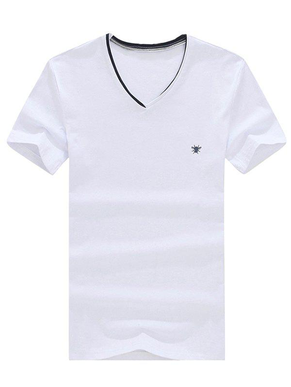 Casual V-Neck Solid Color Short Sleeve Men's T-Shirt - WHITE XL