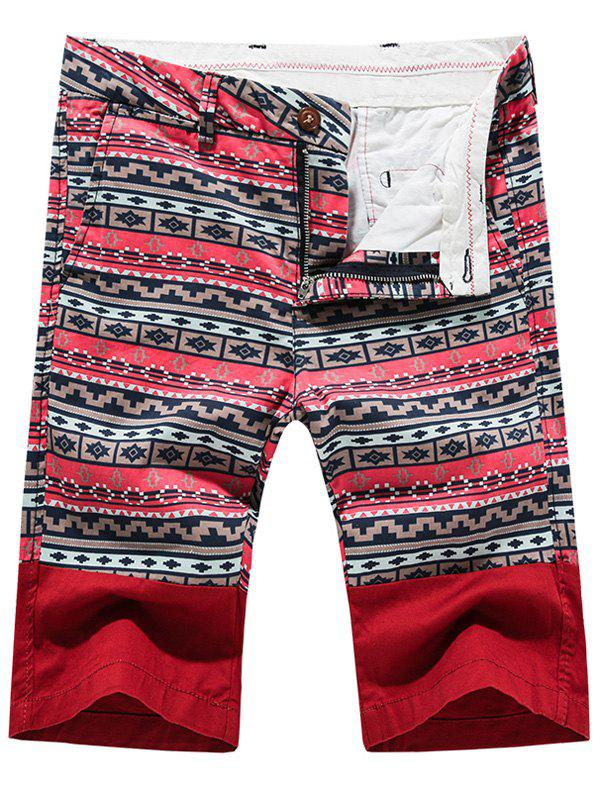 Fashion Zip Fly Printed Men's Shorts - RED 34