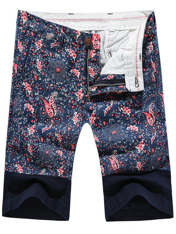 Fashion Zip Fly Color Block Printed Men's Shorts - DEEP BLUE 34