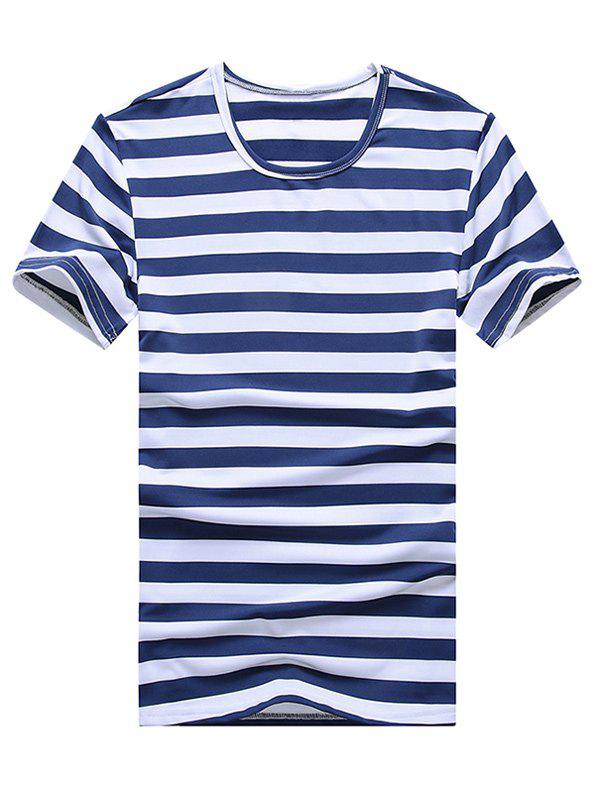 Stripe Round Neck Plus Size Short Sleeve Men's T-Shirt - 5XL SAPPHIRE BLUE