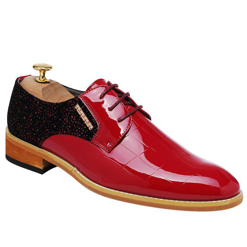 Trendy Colour Block and Patent Leather Design Men's Formal Shoes - RED 40
