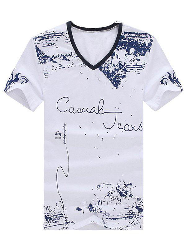Trendy Men's V-Neck Printed Short Sleeve T-Shirt - WHITE L