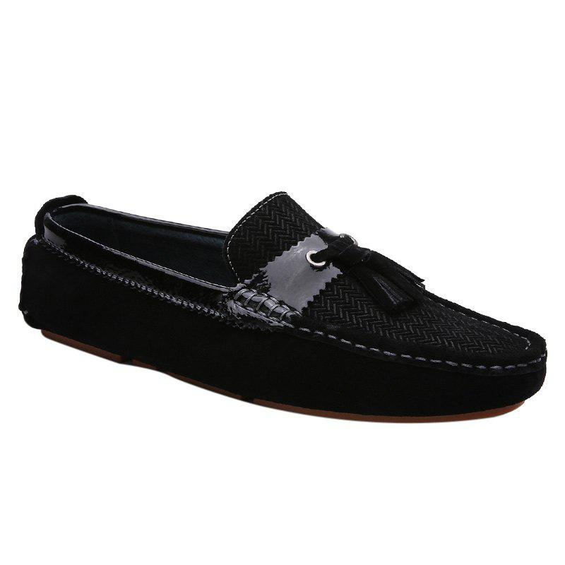 Stylish Solid Colour and Tassels Design Men's Casual Shoes - BLACK 39