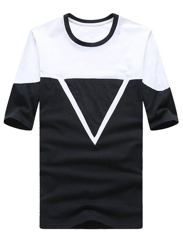 Geometric Print Spliced Design Round Neck Plus Size Short Sleeve Men's T-Shirt