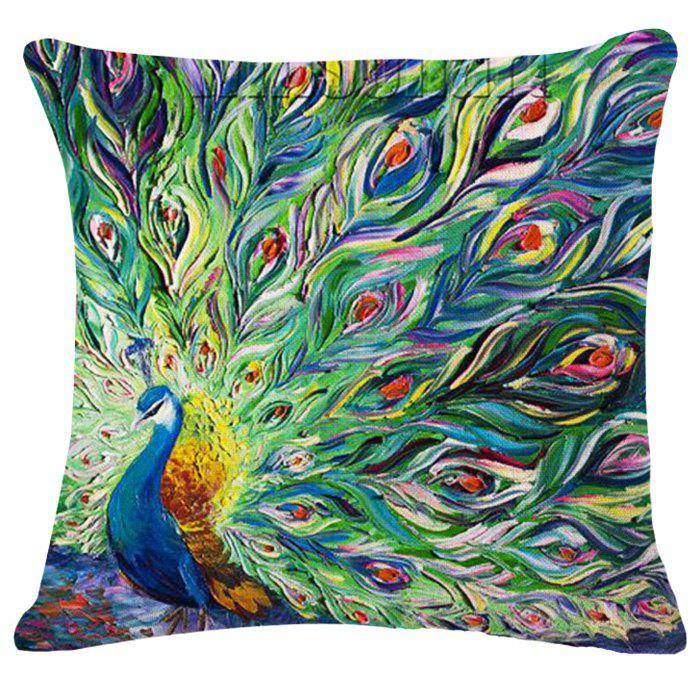 Chic Peacock Oil Painting Pattern Square Shape Pillowcase (Without Pillow Inner) - APPLE GREEN